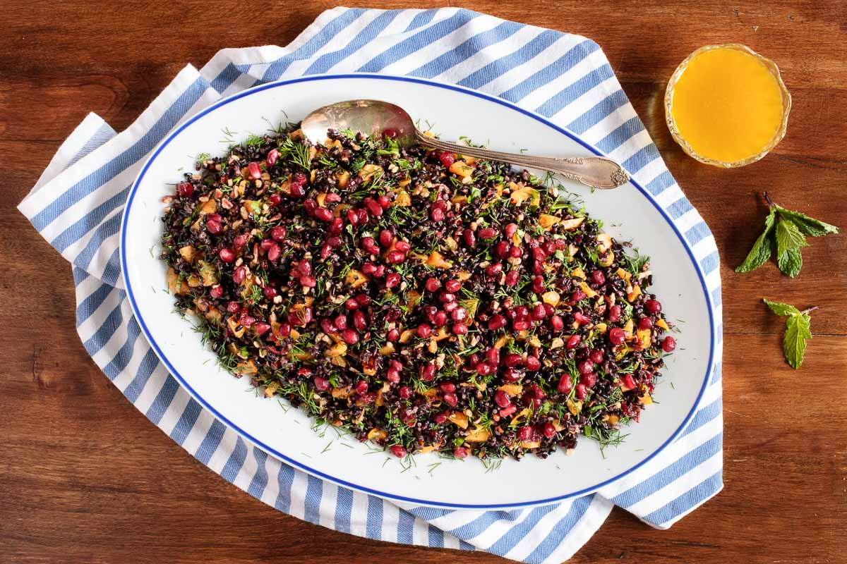 Overhead photo of a platter of Butternut Squash Black Rice Salad.