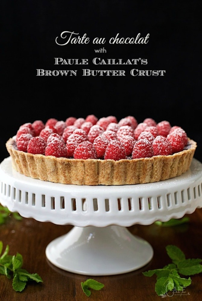"""French Chocolate Tart with Brown Butter Crust - the real deal! It's super simple, super decadent, authentically French and probably the best chocolate dessert you""""ll ever meet! www.thecafesucrefarine.com"""