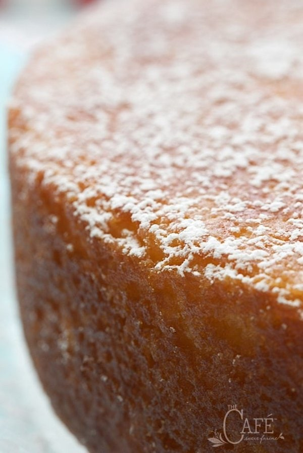 Super closeup shot of the side of a French Grandmother's Lemon Yogurt Cake with powdered sugar sprinkled on top.