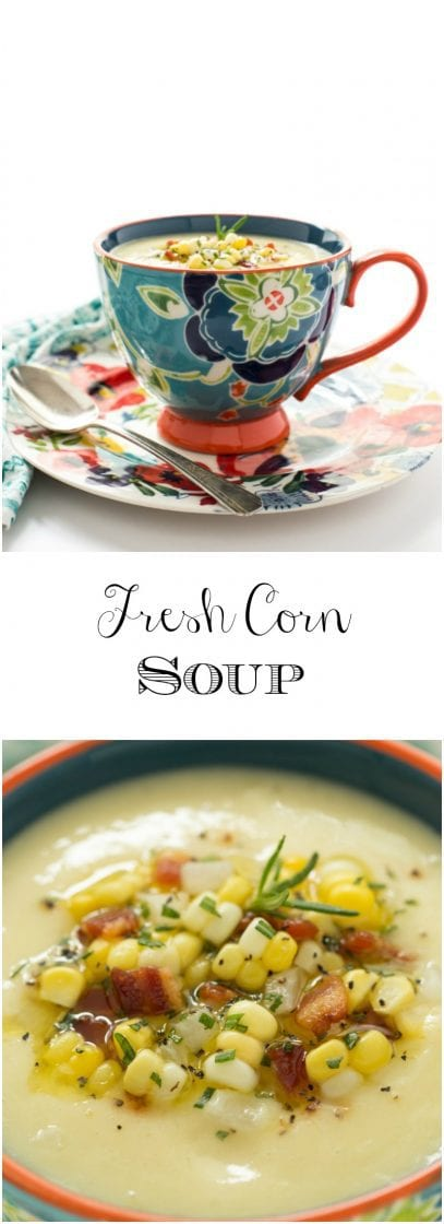 Fresh Corn Soup - a delicious, make ahead soup that's perfect as an appetizer soup and so wonderful for lunch or casual dinners! thecafesucrefarine.com