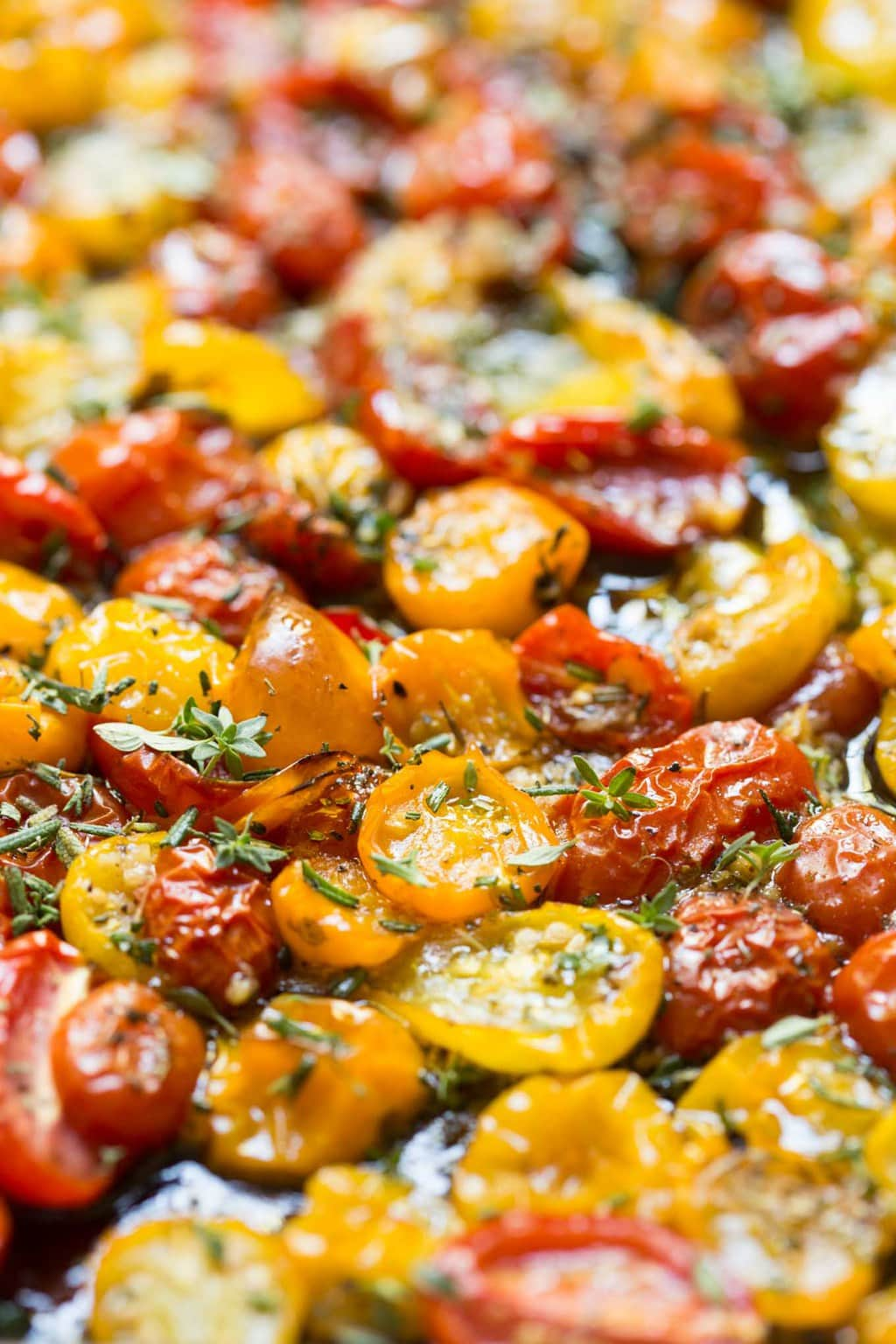 Close up picture of Garlic and Herb Roasted Tomatoes .