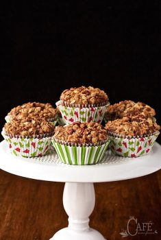 Vertical picture of gingerbread morning glory muffins on a white cake stand