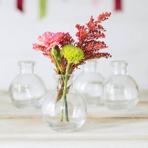 Glass Bud Vase, Ball Bottle, 2.75 in. round x 3.25 in., Clear, 12 pack