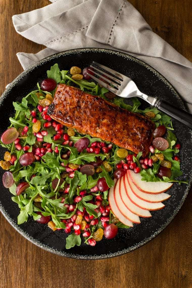Asian Glazed Salmon Salad with Maple Ginger Dressing