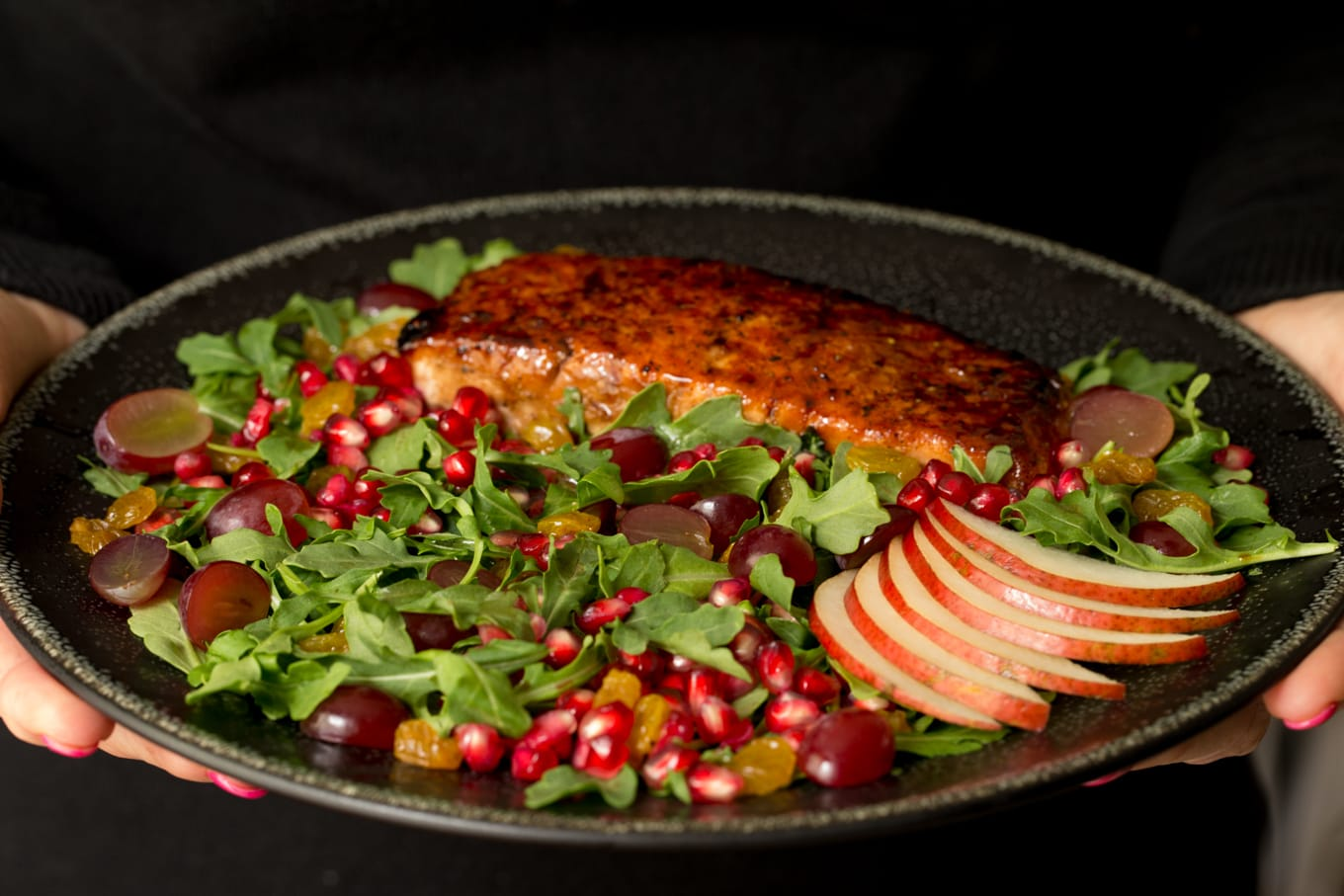 Asian Glazed Salmon Salad with Maple Ginger Dressing - a healthy, delicious salad. The dressing doubles as part of an Asian glaze for the salmon! thecafesucrefarine.com