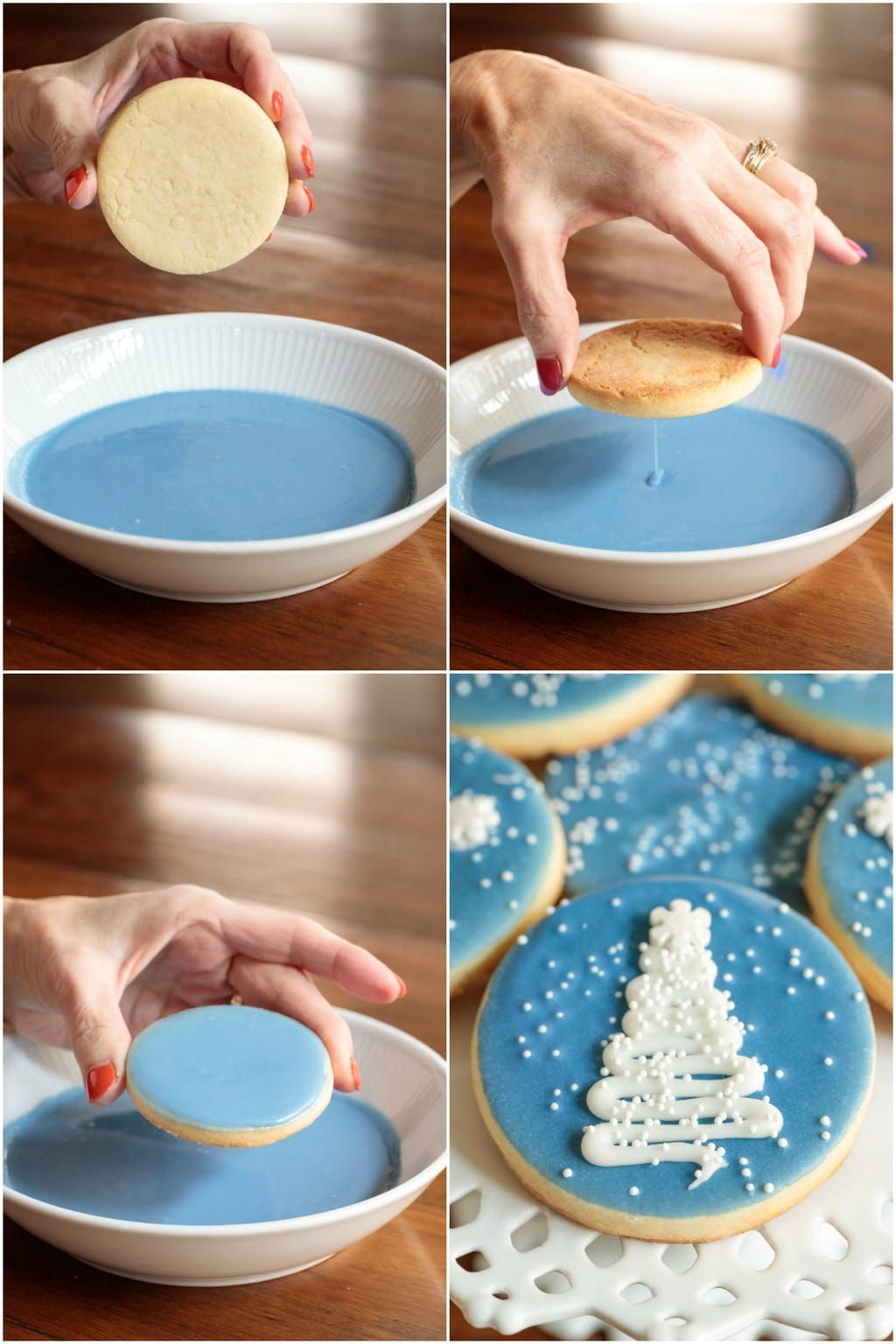 How-to collage of photos demonstrating how to ice Easy Decorated Christmas Cookies.