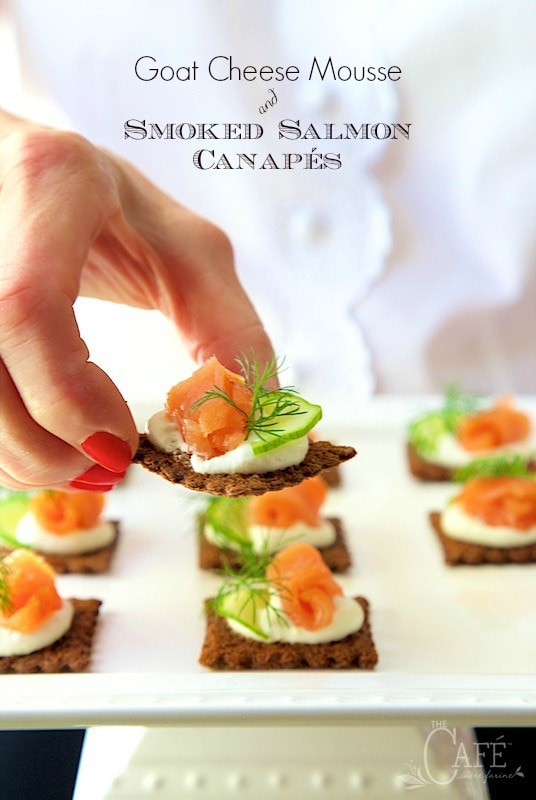 Goat Cheese Mousse Canapés - The components can be made early in the day and the canapés can be put together in minutes before serving, making it perfect for low-stress entertaining! thecafesucrefarine.com