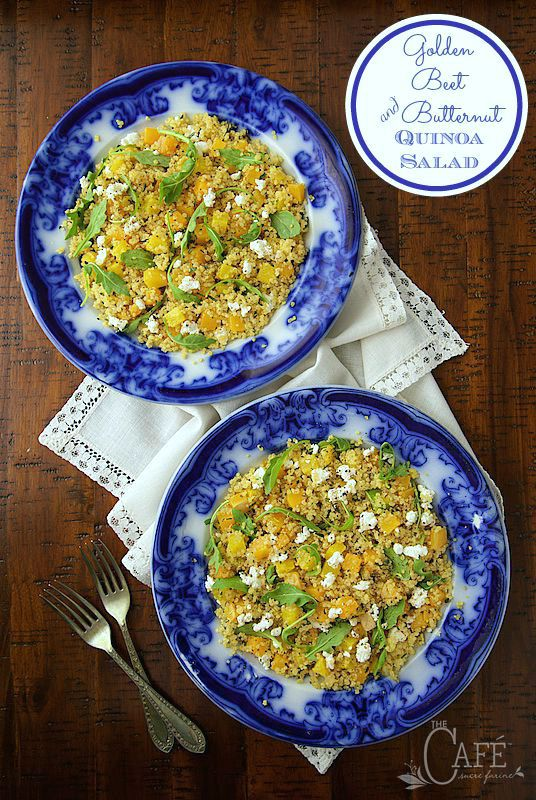 Golden Beet and Butternut Quinoa Salad - a meal in itself or a perfect side, this healthy salad is so pretty and super delicious too!