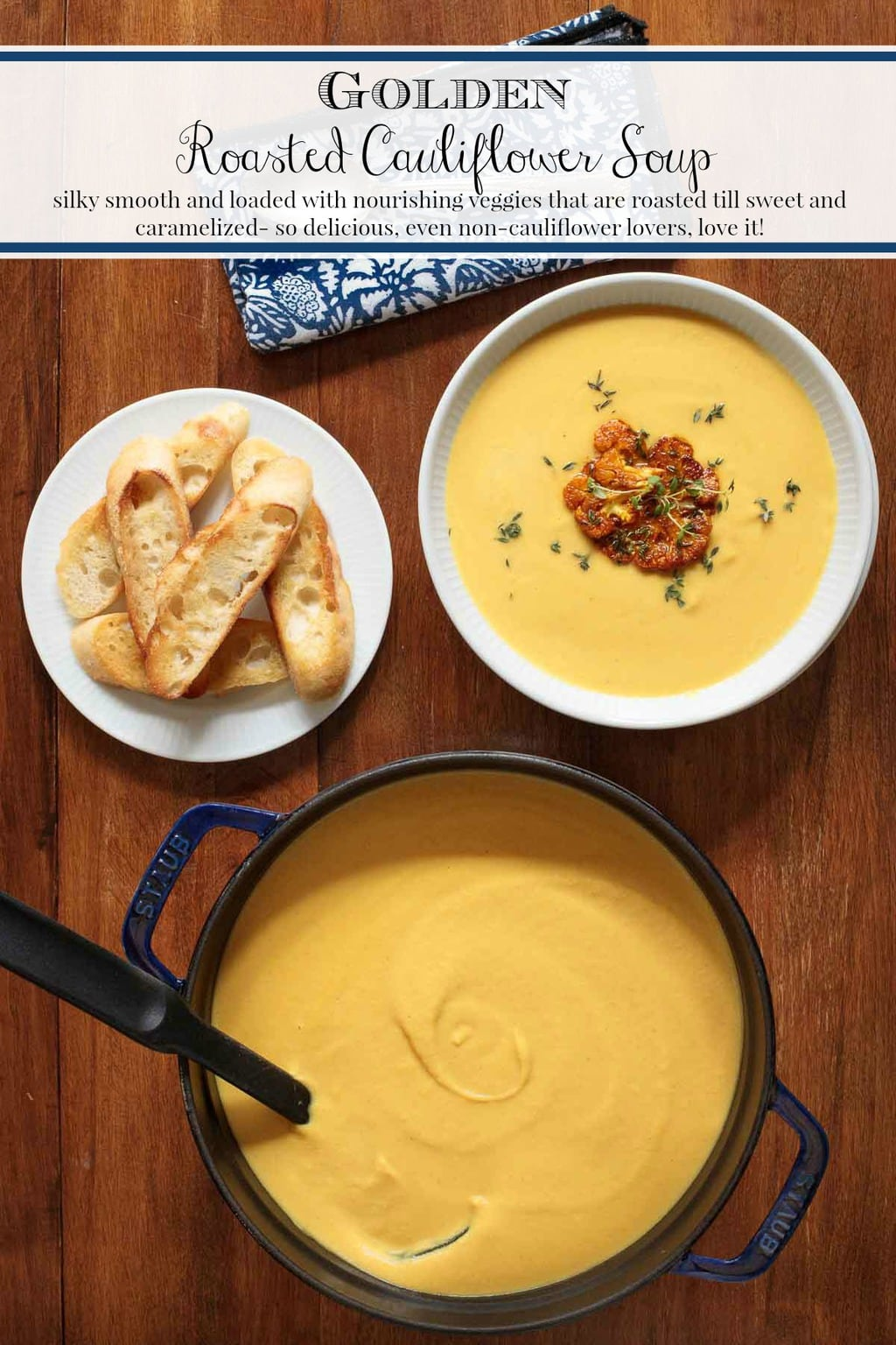 This nourishing Golden Roasted Cauliflower Soup is loaded with veggies that are roasted till sweet and caramelized - even non-cauliflower lovers, love it! #cauliflowersoup, #healthyvegetablesoup, #easycauliflowersoup, #roastedcauliflowersoup