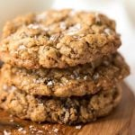 A closeup view of a stack of Grannie Annie's Oatmeal Cookies.