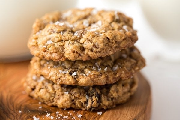 A closeup view of a stack of Grannie Annie's Oatmeal Cookies. thecafesucrefarine.com