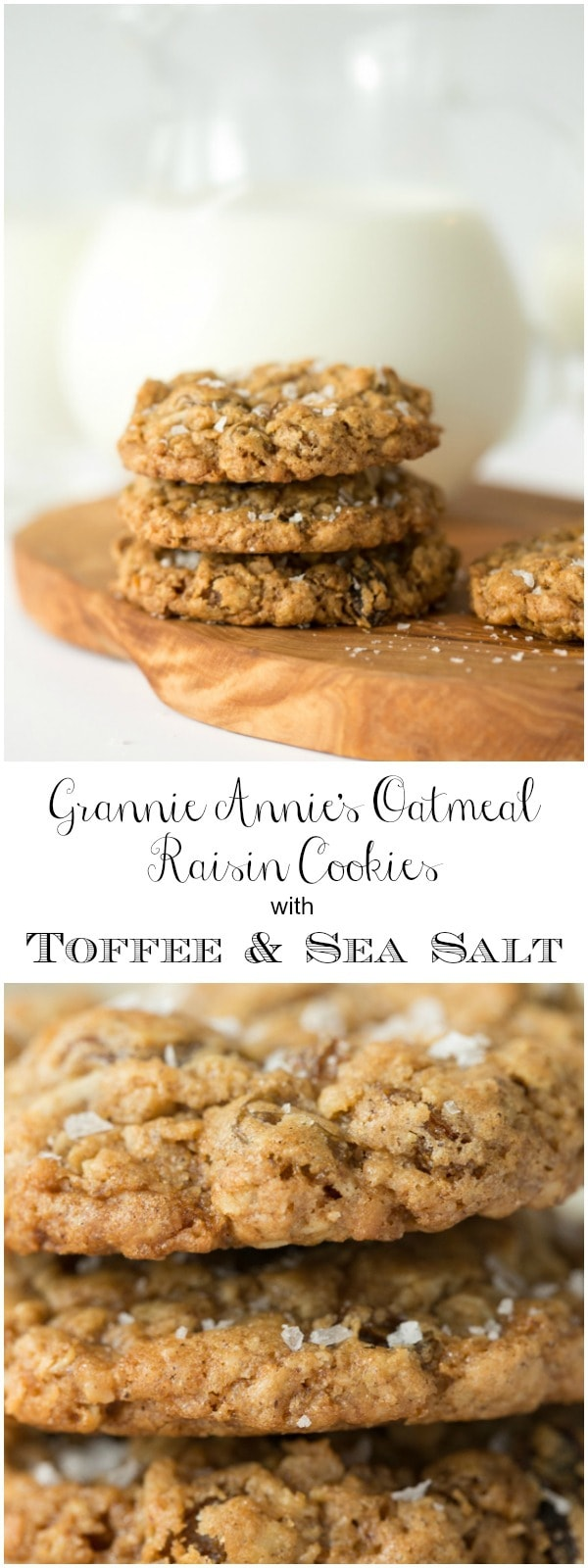 Crazy delicious oatmeal raisin cookies with buttery toffee and coconut. They're topped with a sprinkle of flaky sea salt which takes them over the top!