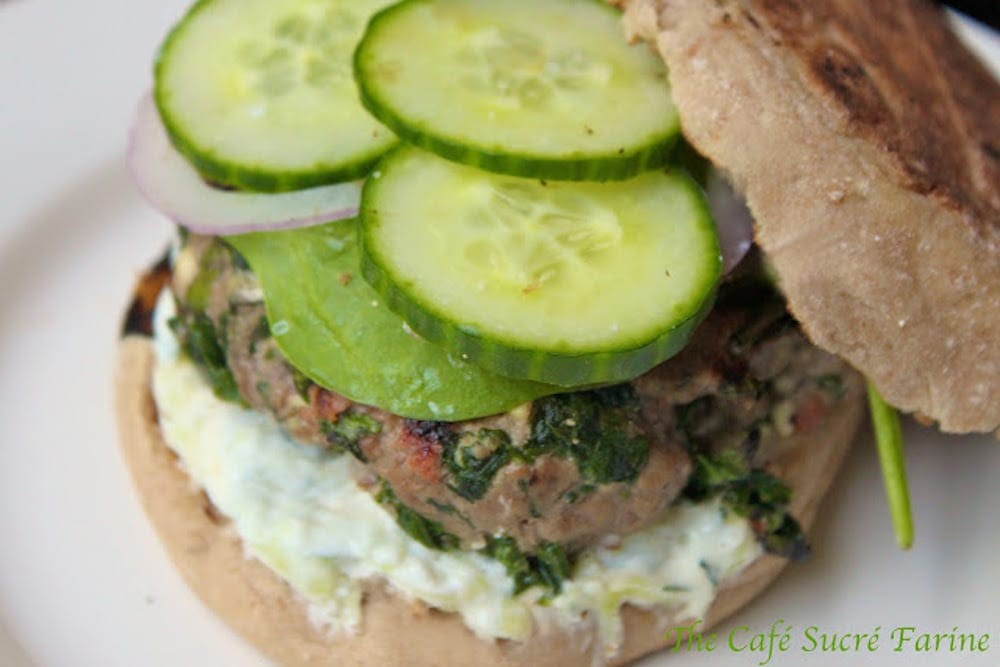 Greek Burgers With Tzatziki Sauce - all your favorite Greek ingredients, all dressed up in a burger!