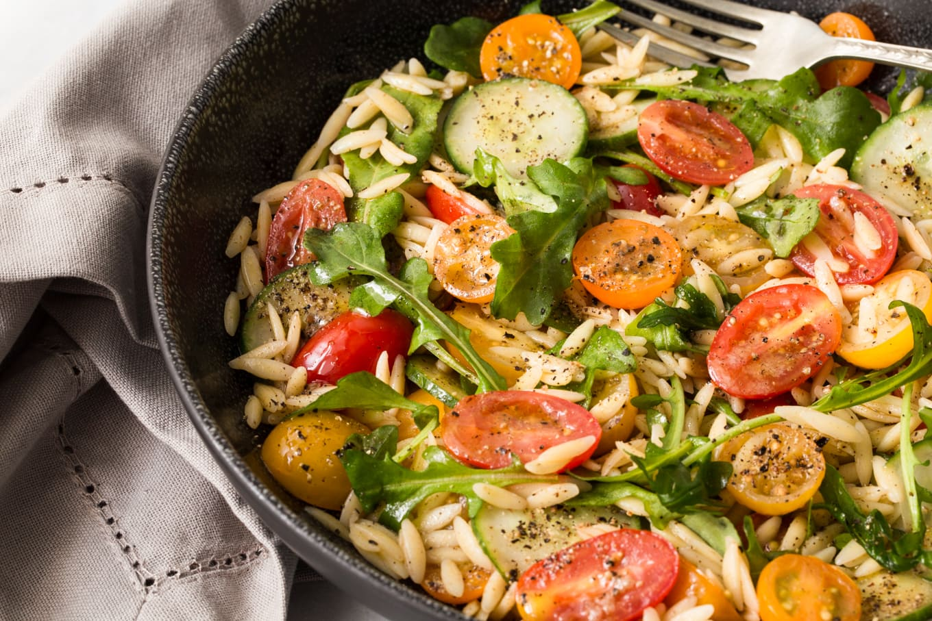 Greek Pasta Salad - from Terra's Kitchen. All the work is done ahead of time for you! This wonderful salad comes together in less than 15 minutes with a little help from Terra's Kitchen.