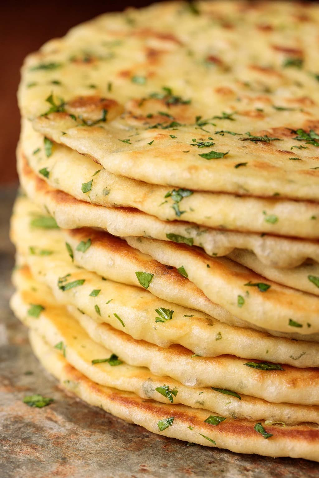 Closeup photo of a stack of Greek Yogurt Turkish Flatbread. (Bazlama)