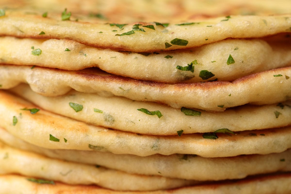 Side closeup of a stack of Greek Yogurt Turkish Flatbread. (Bazlama)