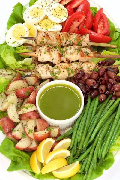 Overhead photo of Grilled Chicken Nicoise Salad on a platter surrounded by veggies, lemon wedges, olives and a bowl of basil anchovy dressing.