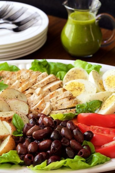 Photo of a plate of Grilled Chicken Nicoise.