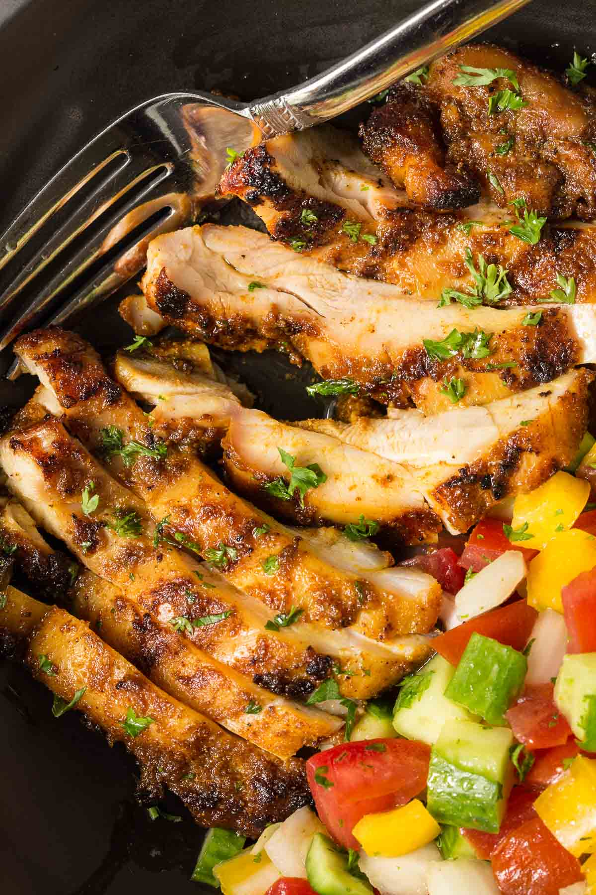 Closeup photo of Grilled Chicken Shawarma.