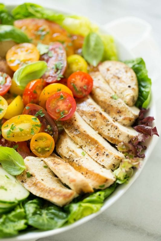 Grilled Chicken with Tomato Cucumber Salad