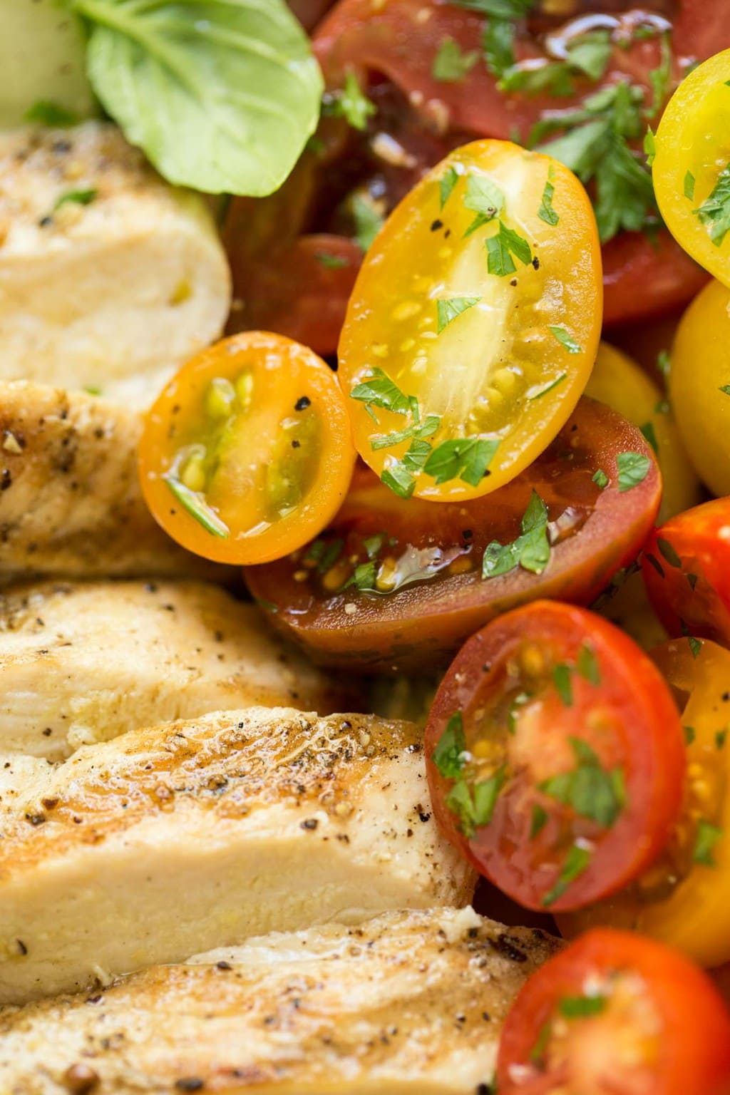Grilled Chicken with Tomato Cucumber Salad - It doesn't get much better than this! A light, lean, healthy and incredibly delicious salad! thecafesucrefarine.com