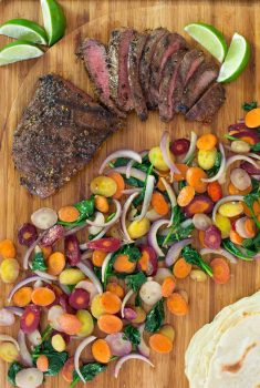 Grilled Mexican Skirt Steak with Rainbow Carrots