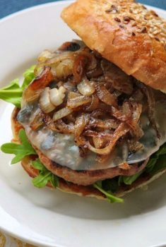 Smokey Barbecue Turkey Burgers w/ Caramelized Onions