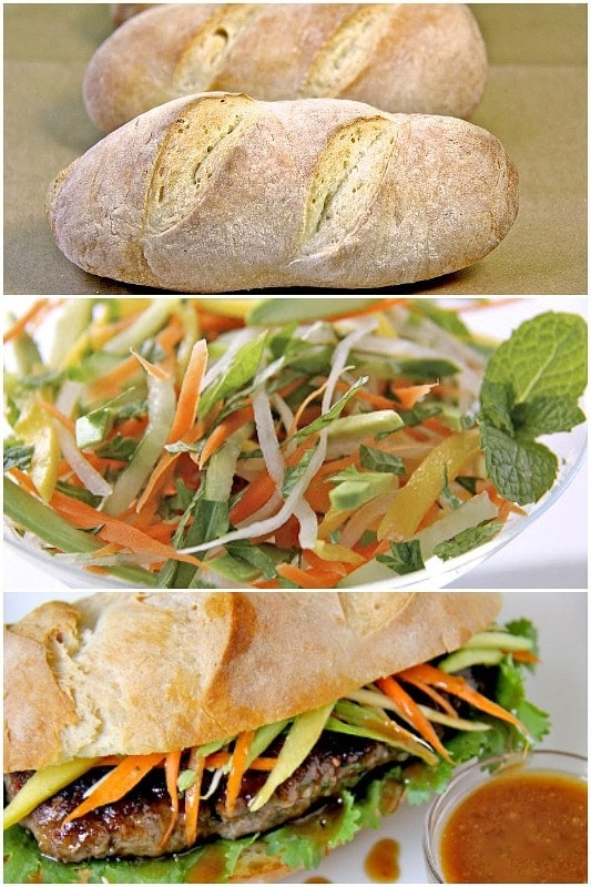 Collage photos of Grilled Vietnamese Banh Mi sandwiches.