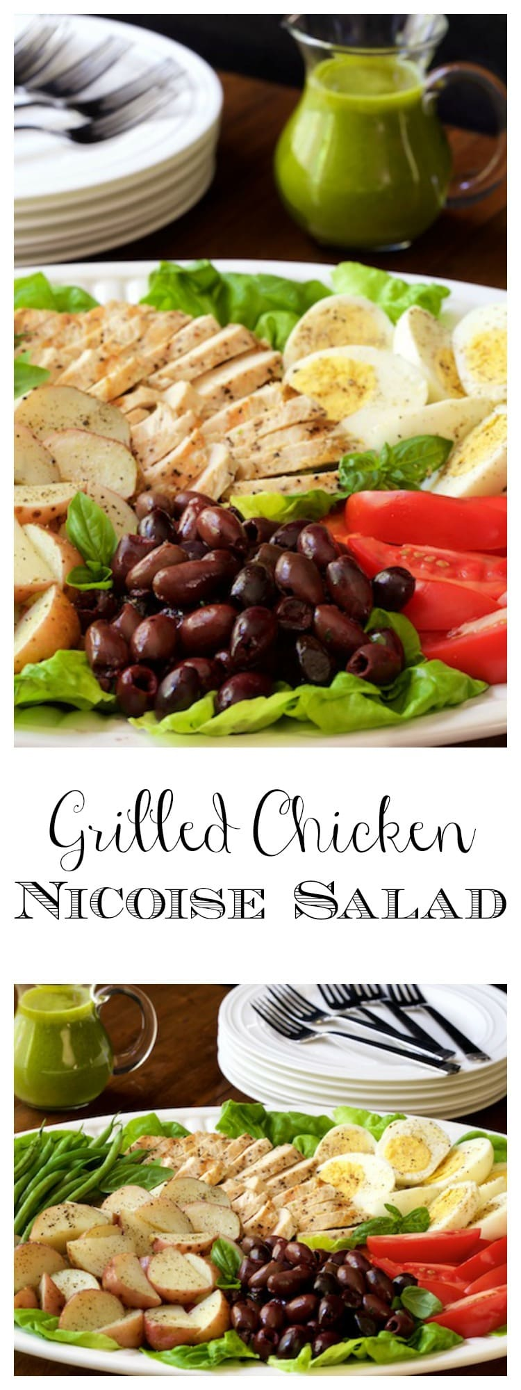Grilled Chicken Nicoise Salad - a light, fresh, healthy meal from the grill! And the Basil Anchovy Dressing takes it to a new level of deliciousness!