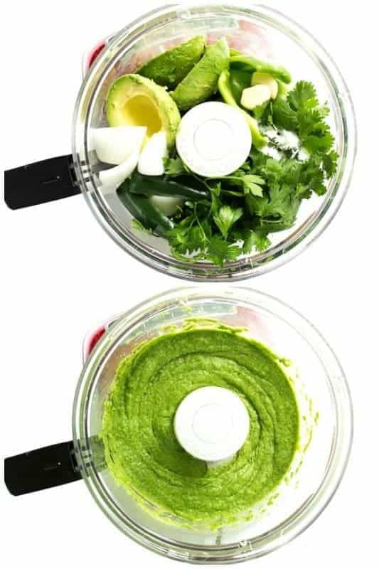 An overhead collage of two food processor bowls of Guasacaca (Venezuelan Guacamole). The top photo is the raw ingredients and the bottom photo is after they are blended in the processor.