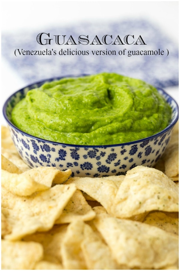 Guasacaca is Venezuela's unique version of guacamole. It's easy to make, vibrant, fresh and bursting with delicious flavor and makes a fabulous, easy appetizer! #easyguacamole, #guasacaca, #easyappetizer, #healthyappetizer