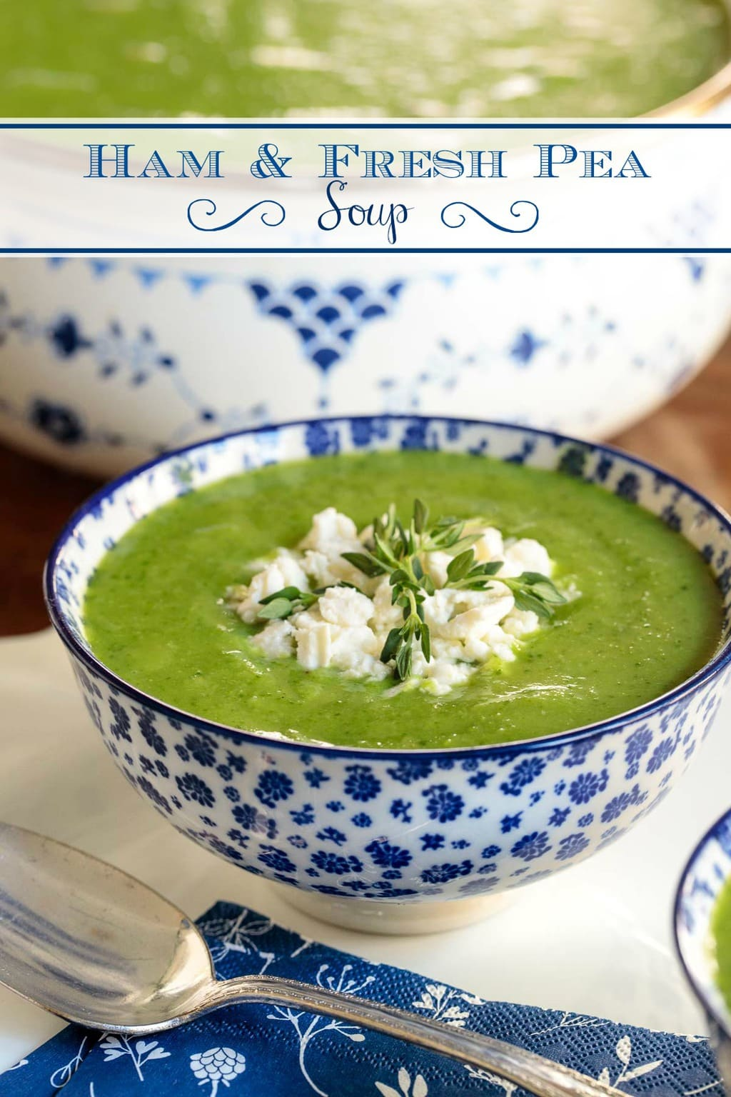 A delicious take on an old classic, ham and split pea soup, this Ham and Fresh Pea soup is healthy, vibrantly-hued and is loaded with fabulous, flavor! #peasoup, #freshpeasoup,#easypeasoup, #hamandfreshpeasoup