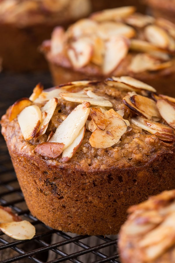 Extreme closeup of a Healthy Banana Bran Muffin with sliced almonds on top.