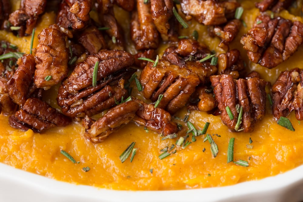 Combining sweet potatoes, butternut squash, maple syrup and a pinch of cinnamon and curry, this Healthy Sweet Potato Butternut Casserole wows everyone! www.thecafesucrefarine.com