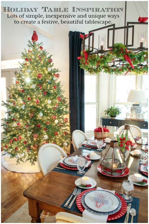 Holiday table inspiration from The Café and around the web. Lots of simple, inexpensive and unique ways to create a beautiful tablescape. #holidaytables #holidaydecorating, #holidaytablescapes