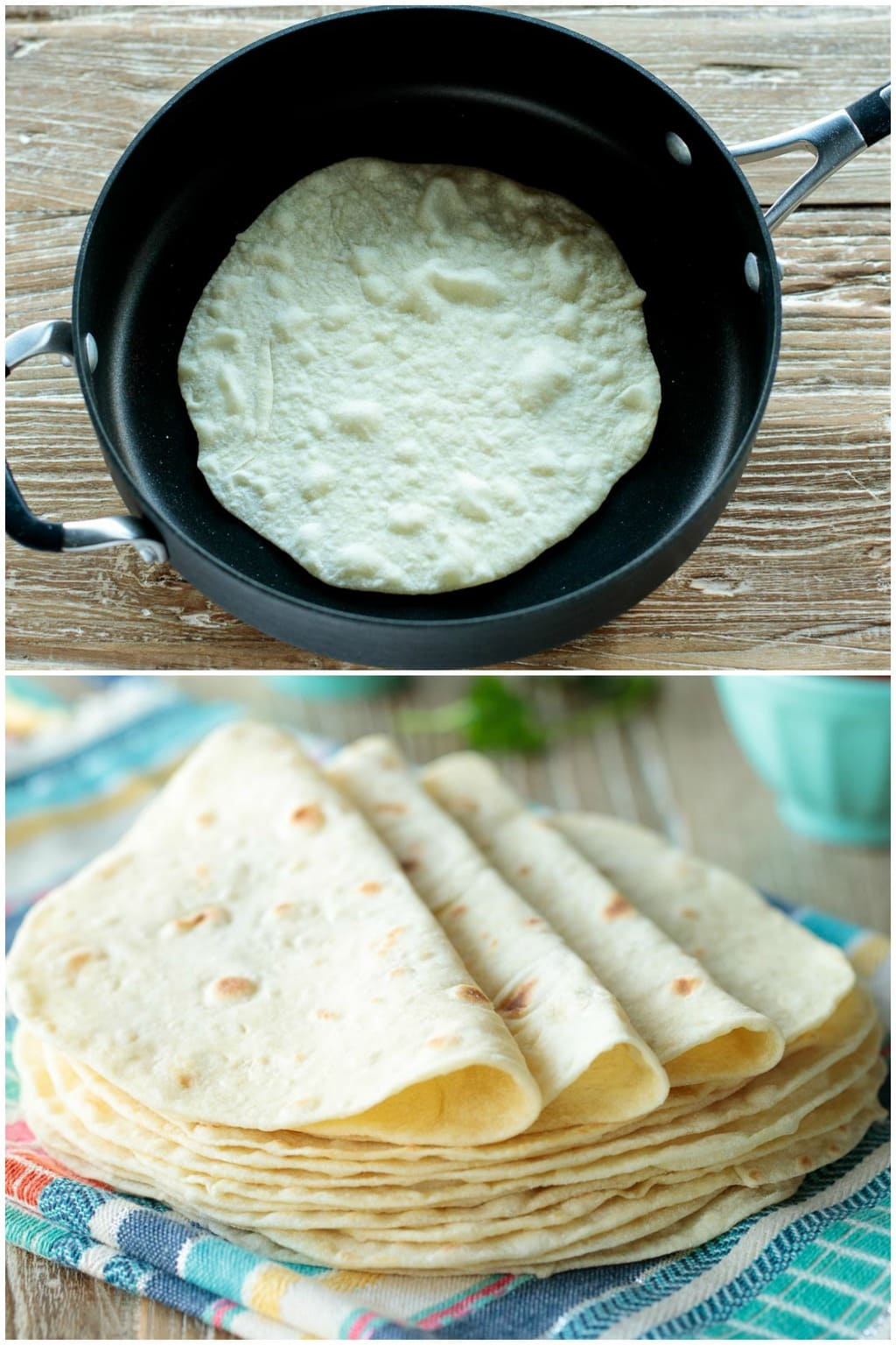 Collage photos of Best Ever Homemade Flour Tortillas being cooked and served.