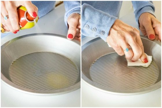 Two-shot collage of how to spray the pie pan when making Homemade Store-Bought Pie Crusts.