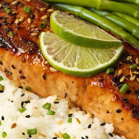 Honey Bourbon Glazed Salmon - deliciously company worthy yet everyday easy!