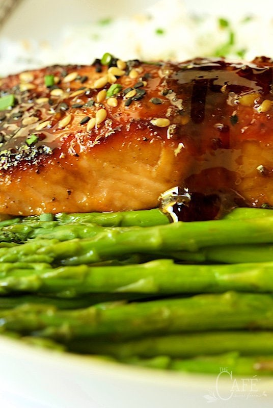 Honey Bourbon Glazed Salmon - This recipe is deliciously company worthy, yet everyday easy! The sweet, sticky, spicy, gingery glaze/drizzling sauce is unbelievable!