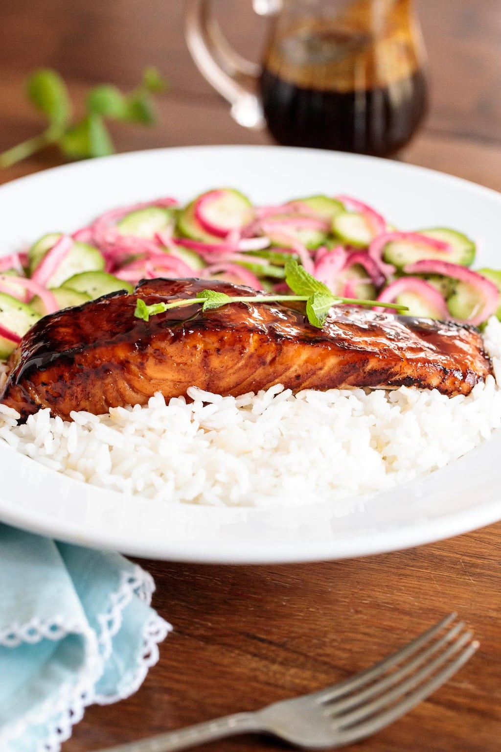 Photo of Honey Coriander Make-Ahead Salmon on a white plate.