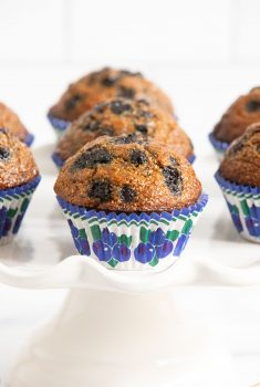 Vertical photo of a batch of Honey-Glazed Blueberry Bran Muffins on a white pedestal plate.