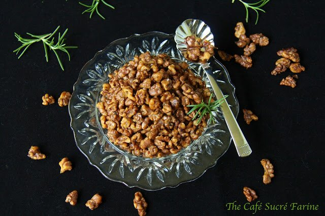 Rosemary-Roasted Honey Walnuts - sweet and salty with a delicious hint of rosemary.