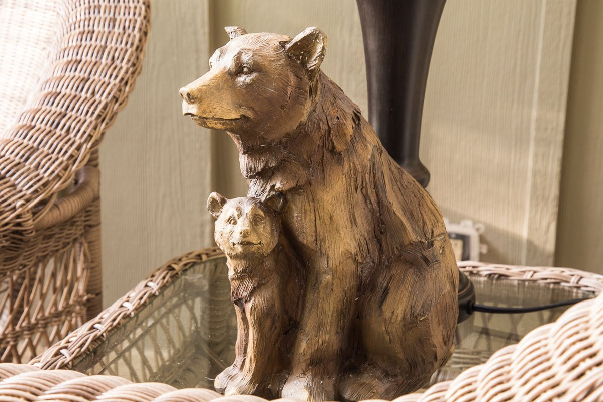 A photo of a mom and baby bear guarding the Hope View front porch.