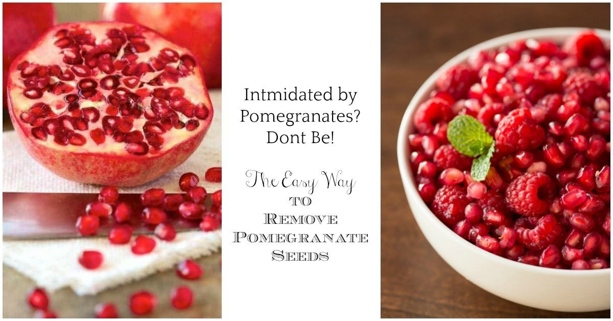 Double photo of pictures from the Easy Way to Remove Pomegranate Seeds blog post.