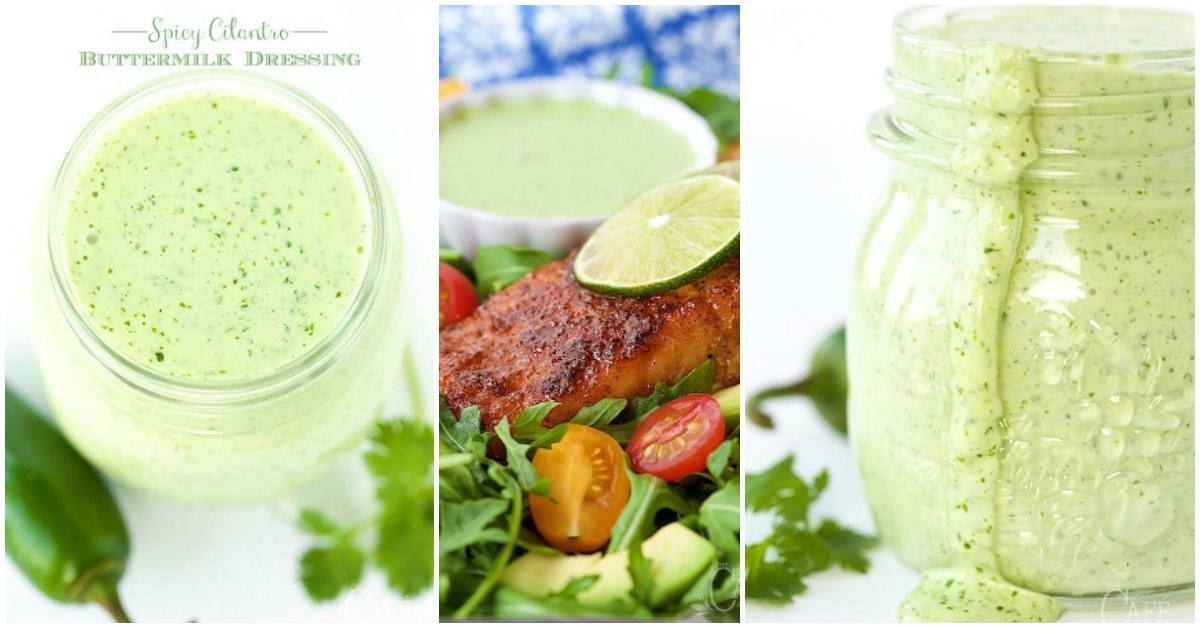 Horizontal Spicy Cilantro Buttermilk Dressing Collage