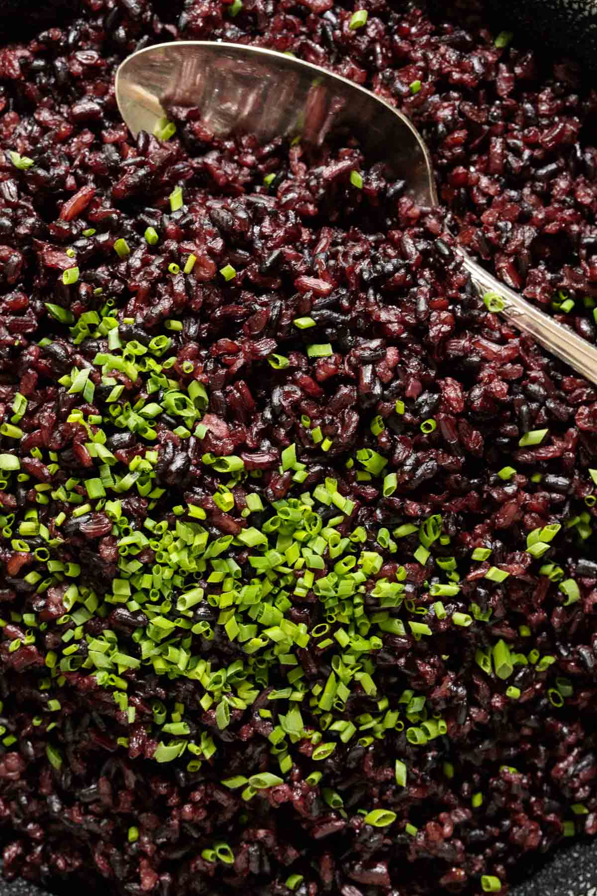 Closeup photo of a platter of black rice used to demonstrate How to Cook Black Rice.