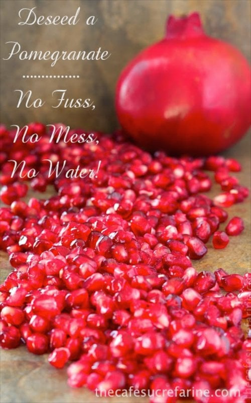 The Easy Way to Remove Pomegranate Seeds - Step by step instructions and pictures. No fuss, no mess, no water!
