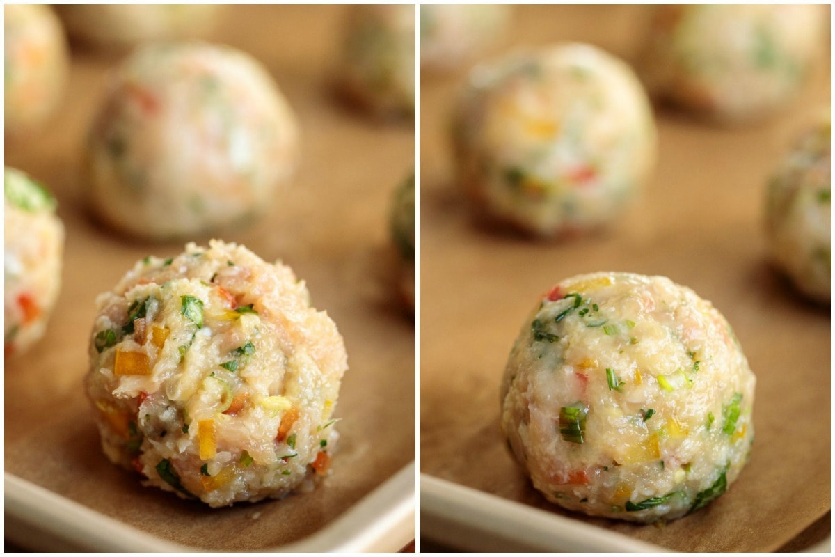 Process shots demonstrating the right and wrong way to roll chicken meatballs.
