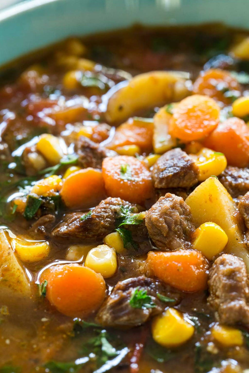 Ultra closeup photo of Instant Pot Italian Vegetable Beef Soup.