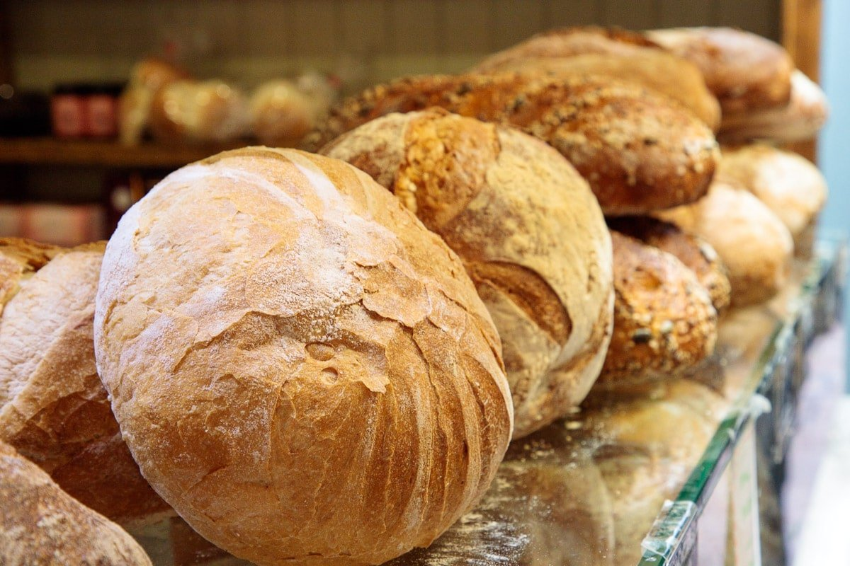 Photo of fresh baked bread for sale at the Cork English Market.